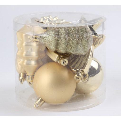 Karácsonyfadísz vegyes formákkal arany színben