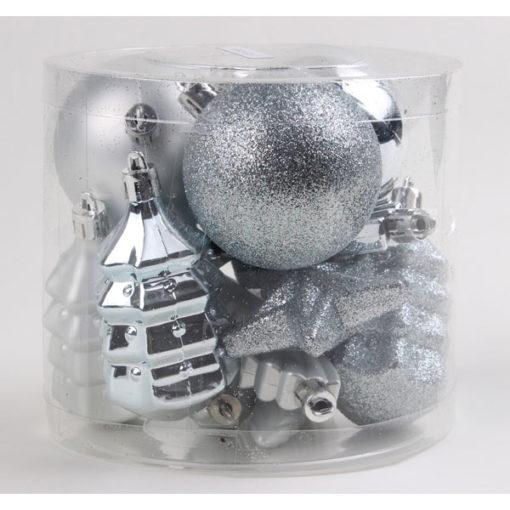 Karácsonyfadísz vegyes formákkal ezüst színben