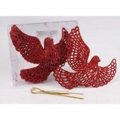 Karácsonyfadísz galamb formájú csipkés