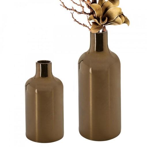 Bronz színű antik hatású kerámia váza fényes felülettel 30x16cm Nova