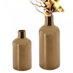 Bronz színű antik hatású kerámia váza fényes felülettel 45x19cm Nova