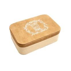 Barna bézs szövet borítású ékszertartó doboz