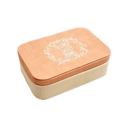 Pink és bézs szövet borítású ékszertartó doboz