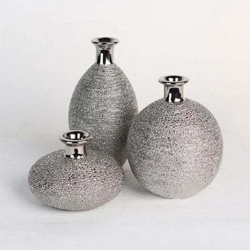 Kerámia váza ezüst színben