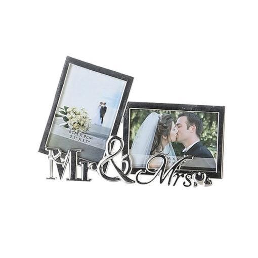 2 részes fém képkeret Mr és Mrs felirattal