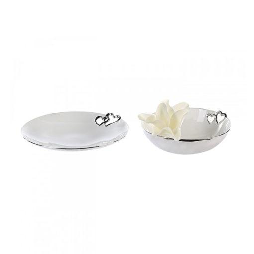Fehér kerámia tányér ezüst szív kivágással