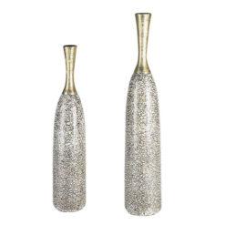 Kézzel készített kerámia váza pezsgő és ezüst színben 70x13cm Caracas