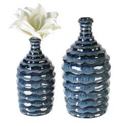 Sötétkék kerámia váza fényes méhkaptár formával 21x11cm Foggia