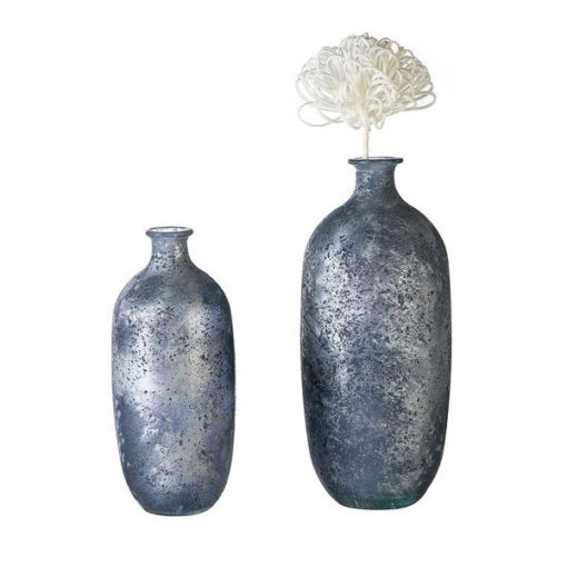 Fémes éjkék színű 100% újrahasznosított üveg váza 31x13cm Solid