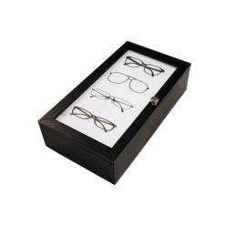 Fekete színű 4 részes fa szemüvegtartó doboz
