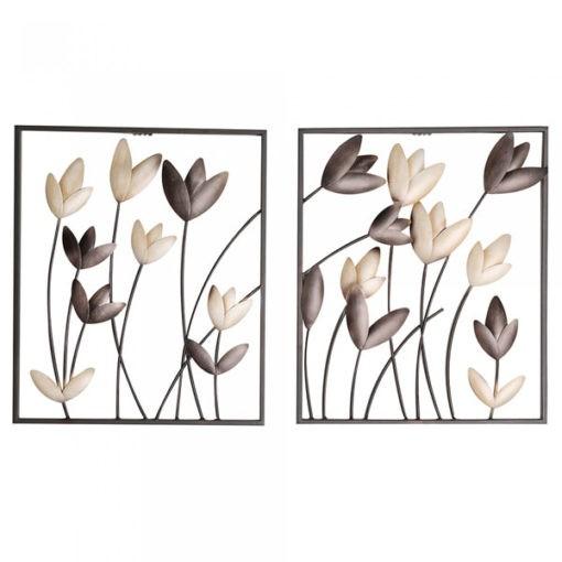 Fémből készült barna és bézs színű antik hatású tulipán fali dekoráció 38x32cm Tulip