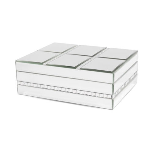 Üveg ékszertartó doboz ezüst színben