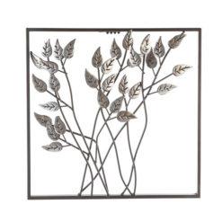 Fémből készült antik ezüst színű leveleket ábrázoló fali dekoráció 30x30cm Leaves