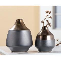 Bronz és ezüst színű modern kerámia váza 11x11x14cm