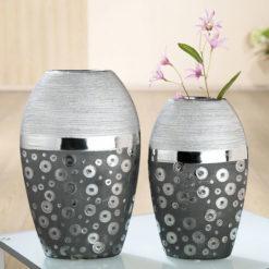 Modern ezüst színű és mintázatú kerámia váza Stampino 20x9.5x31cm