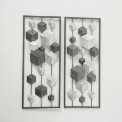 Szürke fém fali dekor 25x4x61cm
