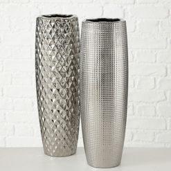 Manea ezüst színű kerámia váza 45cm