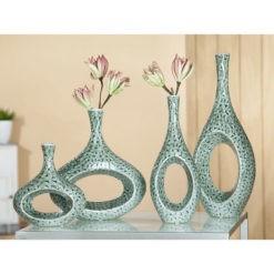 Modern kerámia váza türkiz színben Batik 13x7.5x31cm