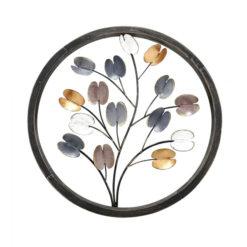 Fa és fém virágos fali dekoráció Fabbro 35.5cm