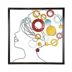 Afrikai hölgy színes fém fali dekoráció 60x1.5x60cm