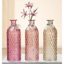 Színes üveg asztali váza 20x7cm