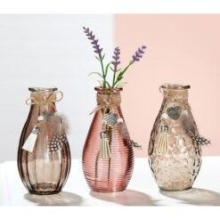 Színes üveg asztali váza 7x7x14cm