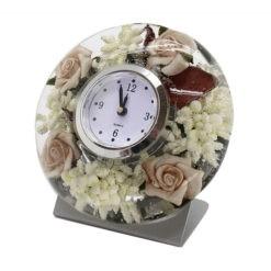 Antik hatású gyönyörű rózsás asztali óra 11x7.5x10cm
