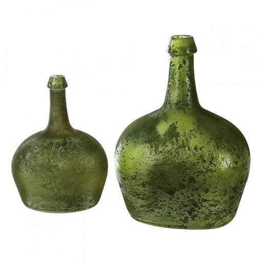 Zöldes színű 100% újrahasznosított üveg váza 27x19x13cm Verde