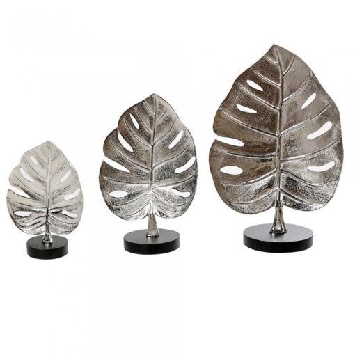 Antik ezüst színű levél formájú alumínium asztali szobor 25cm Leaf