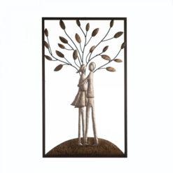 Fém fali dekoráció egy párral a fa előtt antik ezüst és arany színben 50x30cm Tree Couples