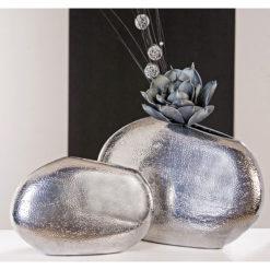 Kovácsolt hatású platina színű kerámia váza Punto 29cm