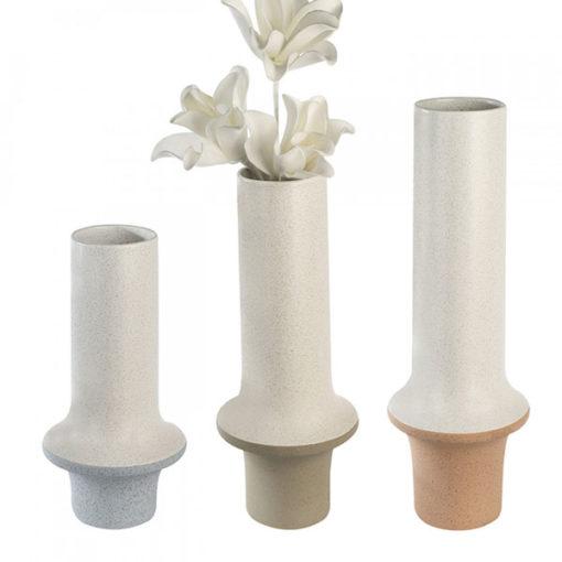 Kő hatású fehér és világos szürke színű kerámia váza 40x9