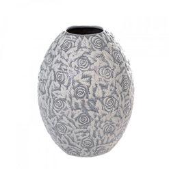 Szürke kerámia váza fehér rózsa dekorral 32x22cm Jolie