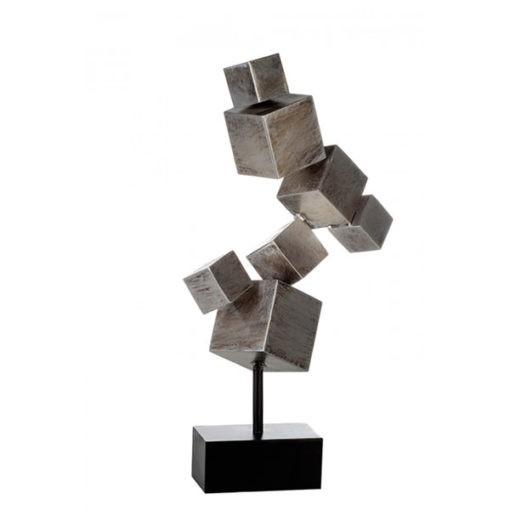 Óriási 56cm magas antikolt hatású ezüst színű fém kocka szobor