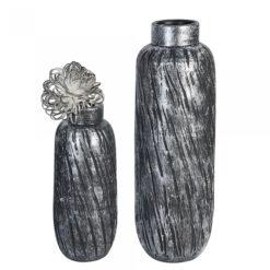 Ezüst és grafit színű kerámia váza strukturált felülettel