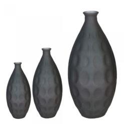 Matt antracit színű 100% újrahasznosított üveg váza körökkel nyomott felülettel