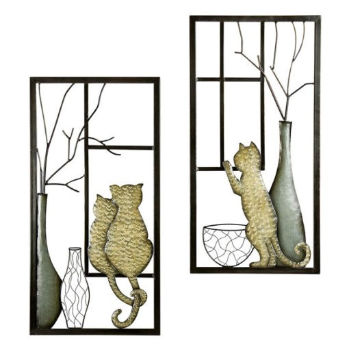 Cicák az ablakban fém fali dekoráció 80x40cm