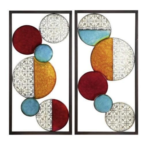 Hatalmas színes fém fali dekoráció körök