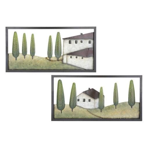 Toszkán hangulatú fém fali dekoráció 80x40x1cm Toscana