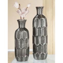 Hosszú nyakú modern felületű szürke és ezüst színű kerámia váza 46