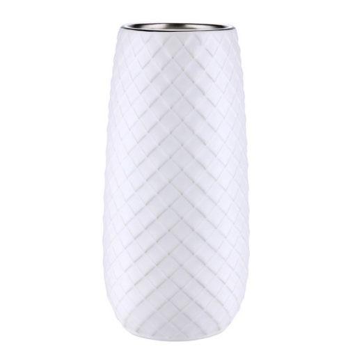 Fehér kerámia váza rombusz mintával 23