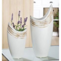 Fehér kerámia váza félhold alakban barnás mintával 33x14