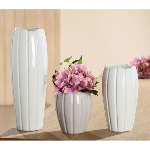 Fényes szürke színű kerámia váza 17x15cm Tulipa