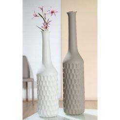 Modern kerámia váza érdekes nyomott felülettel barna és fehér színben 50x10