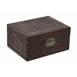 Fa ékszertartó krokodilbőr hatású bevonattal barna színben 17x13x8