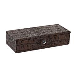Fa ékszertartó krokodilbőr hatású bevonattal barna színben 21x9x5cm