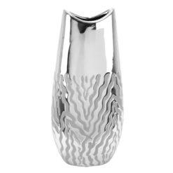 Ezüst színű fényes kerámia váza hullámos mintával