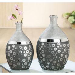 Modern ezüst színű és mintázatú kerámia váza Stampino 31x19x9