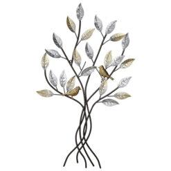Arany és ezüst színű fém fali dekor fa madarakkal 76x50cm
