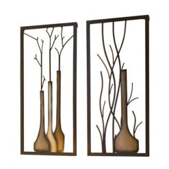 Hatalmas bézs és barna színű fém fali dekor váza ágakkal 80x40cm